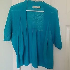 Teal short sleeve shawl